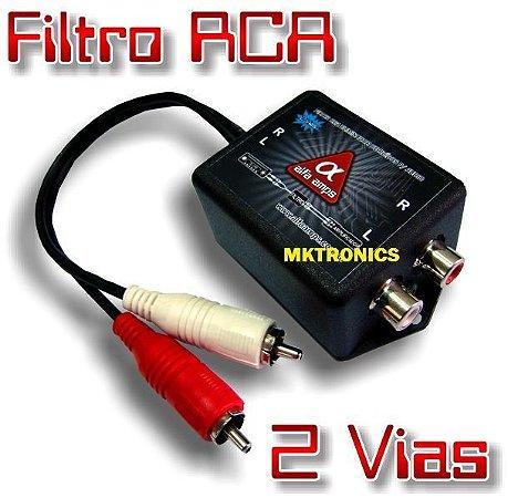 Filtro Rca Anti Ruído 2 Vias Alfa Amps Para Cd Dvd com Módulo Amplificador