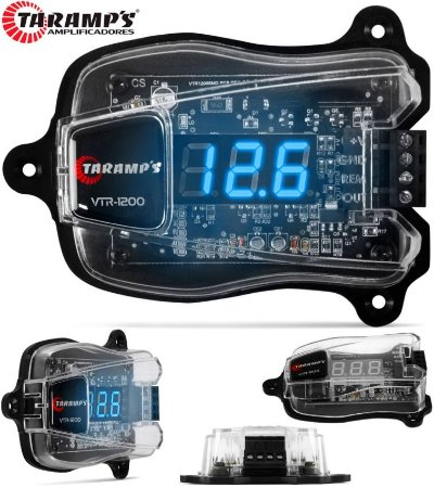 Voltímetro Taramps Vtr-1200 Digital Remote Display Azul - Gerenciador de Energia - Protege o Som