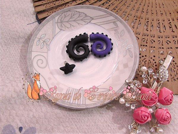 Brincos Tentáculos Purple/Black + Brinco Estrela