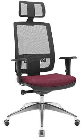 Cadeira Presidente BRIZZA Tela Ergonômica Base Alumínio com apoio de cabeça