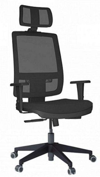 Cadeira Presidente BRIZZA Tela Ergonômica Base Nylon com apoio de cabeça