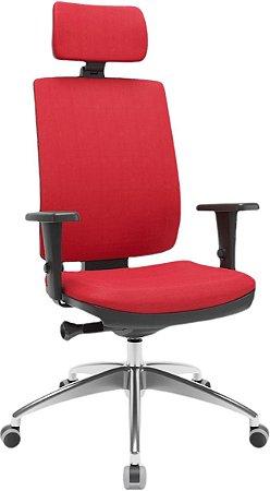 Cadeira Presidente BRIZZA Ergonômica Base Alumínio com apoio de cabeça