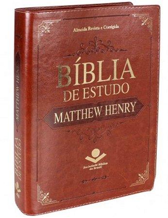Bíblia De Estudo Matthew Henry - Luxo - Marrom