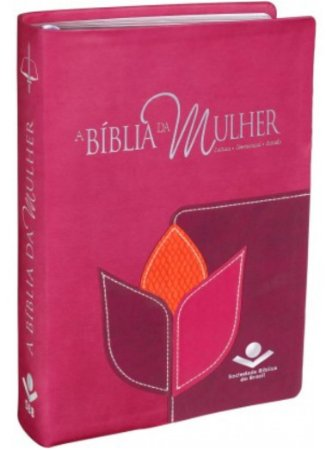 A BÍBLIA DA MULHER - Almeida Revista e Corrigida Pink Vinho e Laranja Flor
