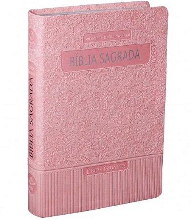 BÍBLIA SAGRADA LETRA GIGANTE Almeida Revista e Atualizada Rosa claro