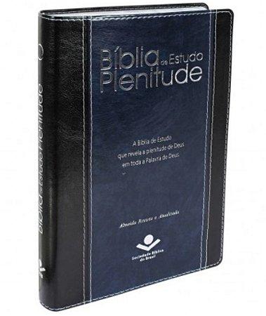 BÍBLIA DE ESTUDO PLENITUDE Almeida Revista e Atualizada Sintético Preto e Azul NOBRE
