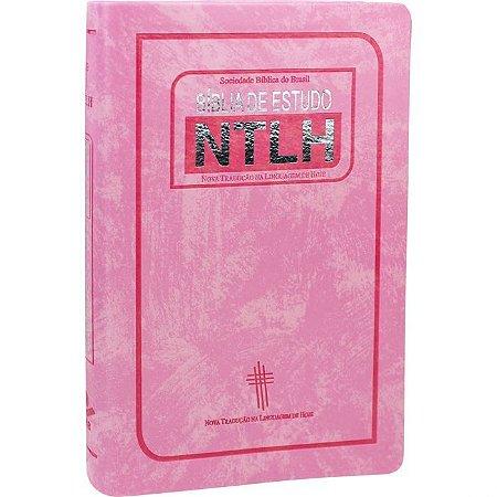 BÍBLIA DE ESTUDO NTLH ROSA