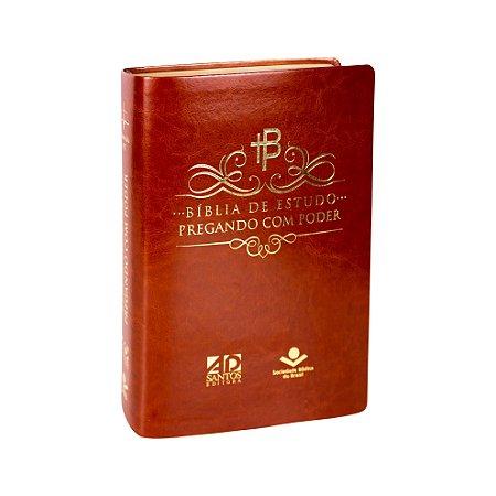 BÍBLIA DE ESTUDO PREGANDO COM PODER - CAPA MARROM