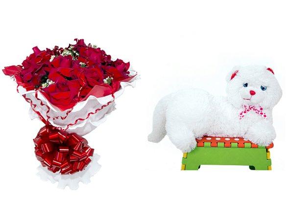 Buquê de Flores Encanto de Colombianas Vermelho + Gata Mel