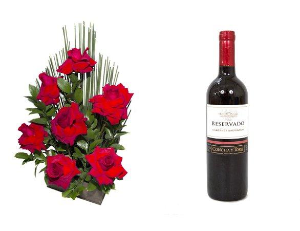 Arranjo de Flores Affetto di fiori vermelho + Vinho Concha Y Toro