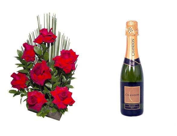 Arranjo de Flores Affetto di fiori vermelho + Espumante ChandonBrut