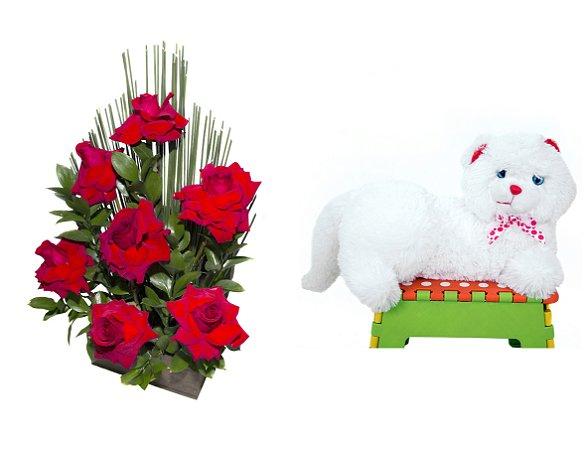 Arranjo de Flores Affetto di fiori vermelho + Gata Mel