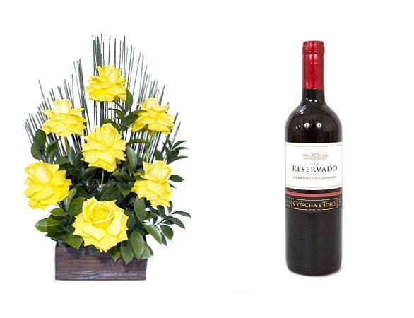 Arranjo de Flores Affetto di fiori amarelo + Vinho Concha Y Toro