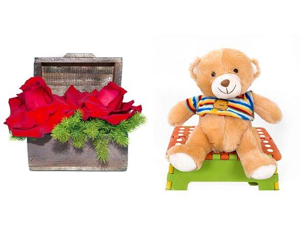 Arranjo de Flores Amor por você+ Urso Carinhoso