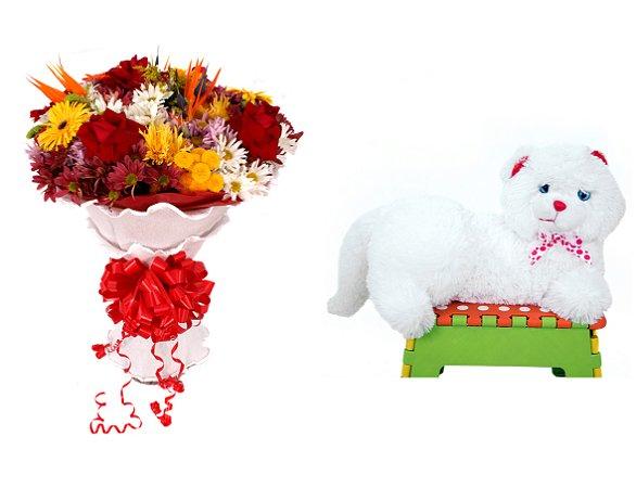 Buquê de Flores Lindo Tropical + Gata Mel