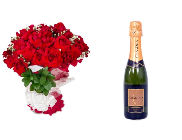 Buquê de Flores Loucura de amor + Espumante ChandonBrut