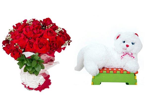 Buquê de Flores Loucura de amor + Gata Mel