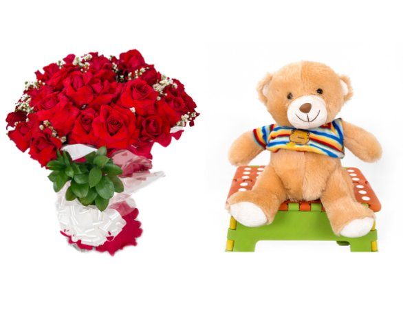 Buquê de Flores Loucura de amor + Urso Carinhoso