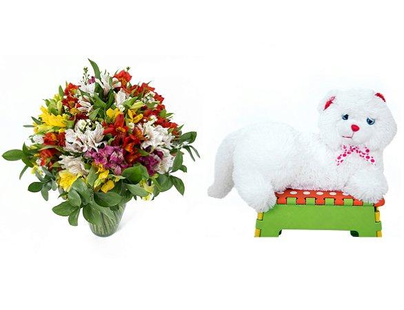 Buquê de Flores Colorido Alegre + Gata Mel