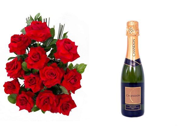 Arranjo de Flores Amor em rosas + Espumante ChandonBrut