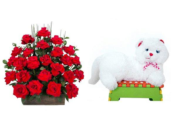 Arranjo de Flores Eu te amo + Gata Mel