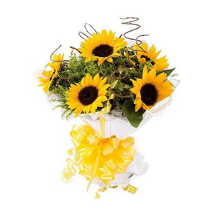 Buquê de Flores Encanto com 5 Girassóis