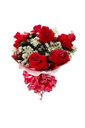 Buquê de Flores Encanto com 6 colombianas vermelhas