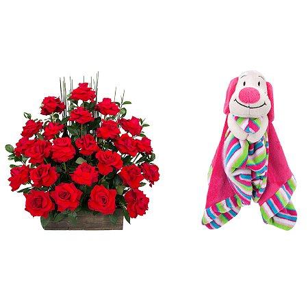 Arranjo de Flores Eu te amo + Soninho Cachorro 37cm