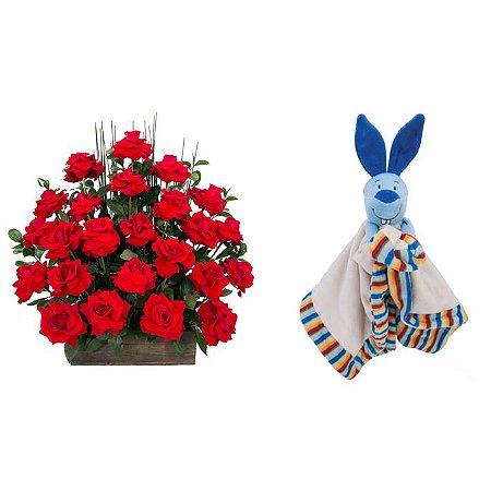 Arranjo de Flores Eu te amo + Soninho Coelho 37cm