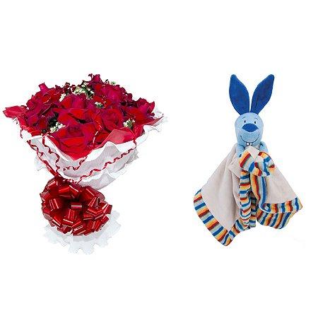 Buquê de Flores Encanto de colombianas vermelhas + Naninha (Soninho Coelho)