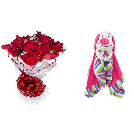 Buquê de Flores Encanto de colombianas vermelhas + Naninha (Soninho Cachorro)