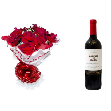 Buquê de Flores Encanto de colombianas vermelhas + Vinho Casillero Del Diablo