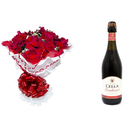 Buquê de Flores Encanto de colombianas vermelhas + Vinho Frisante Cella Lambrusco Tinto 750ml