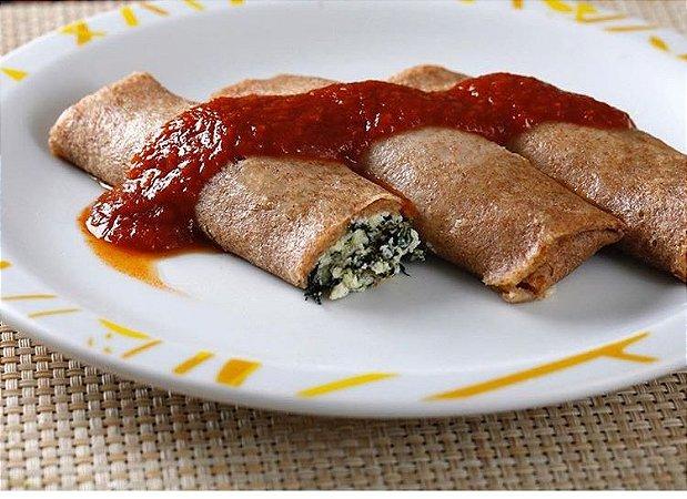 Panqueca integral de espinafre e ricota pacote 500 g 4 un, ideal para refeiçoes leves. Só aquecer.
