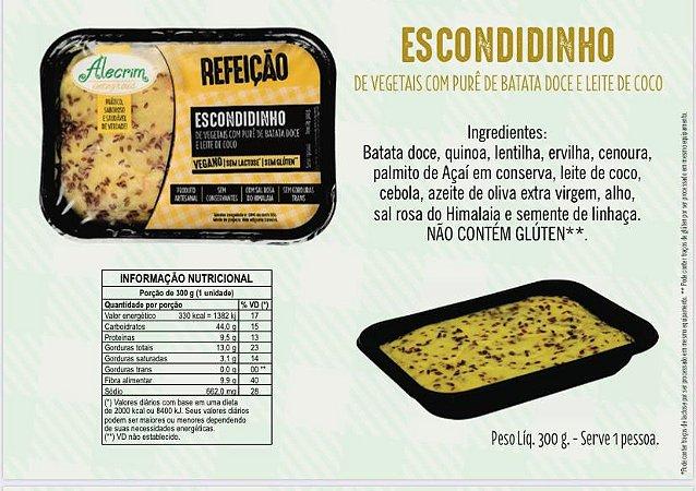 Escondidinho de vegetais com pure de batata doce e leite de coco 300 g serve 1 pessoa. Aquecer no microondas por 6 min.