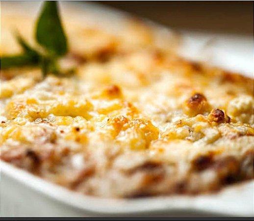 Lasanha de berinjela , finas fatias de berinjela, molho de tomate pelado, mussarela e parmesão por cima - 750g serve bem 3 pessoas