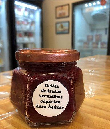 Geleia Zero Açúcar artesanal de frutas vermelhas, ideal para comer com dadinhos de tapioca e pãezinhos. Peso 150g