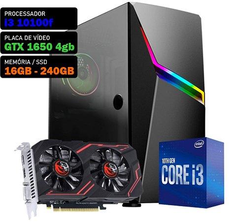 COMPUTADOR KADIN GAMER I3 10100F 3.6GHZ, GTX 1650 4GB, 16GB DDR4, SSD 240GB, 500W, ASHE