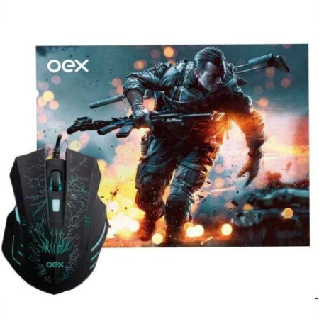 KIT MOUSE USB LUMI E MOUSEPAD GAMER STAGE MC101 OEX GAME