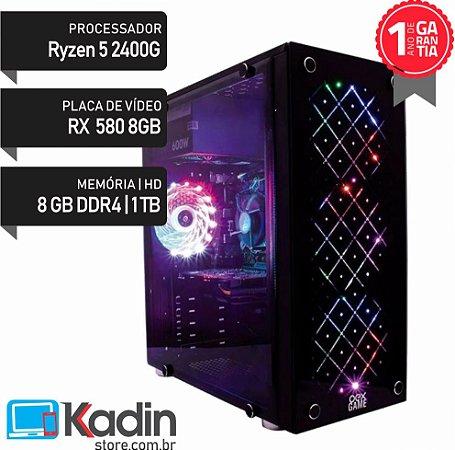 COMPUTADOR RYZEN 5 2400G / RX 580 8GB / 8GB DDR4 / HD 1TB