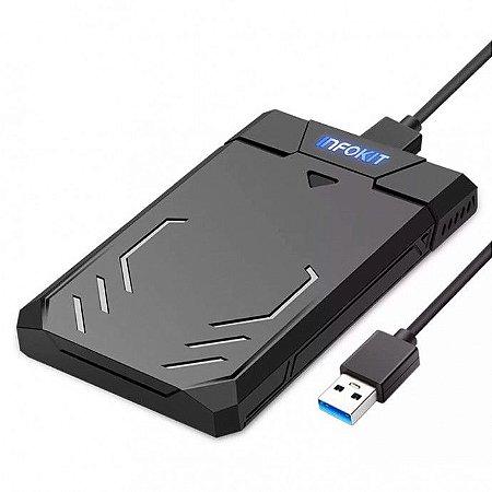 """CASE P/ HD 2.5"""" USB 3.0 PRETO COM LED INFOKIT"""