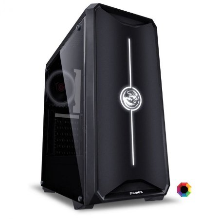 GABINETE GAMER PCYES NOVA, 1 FAN RGB, LED FRONTAL RGB, LATERAL EM ACRILICO
