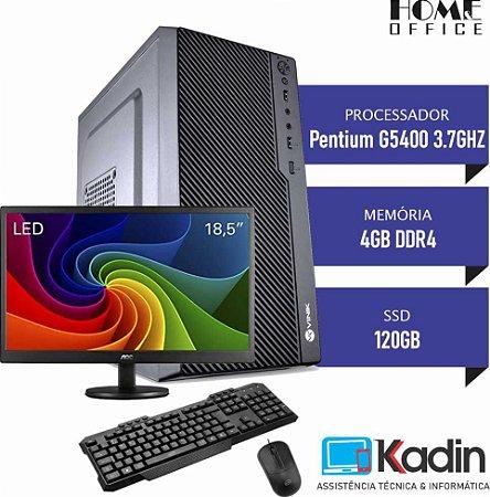 "COMPUTADOR KADIN PENTIUM G5400 8GER / 4GB DDR4 / SSD 120GB / MONITOR 18.5"" / TECLADO E MOUSE USB"