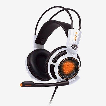 HEADSET GAMER OEX GAME EXTREMOR USB 7.1 VIBRATION WHITE HS400