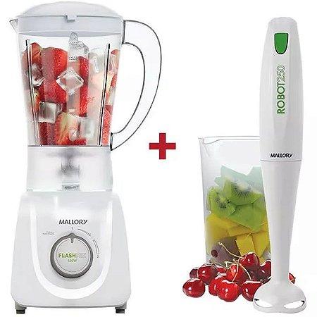 Kit Liquidificador Flash Mix 450w +mixer Mallory Robot White