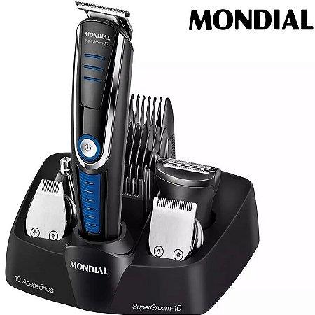Kit Barbeador Aparador De Pelos Mondial Multi Groom 10 Em 1