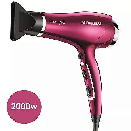 Secador De Cabelo Mondial Pink 2000w Ions Ar Quente E Frio