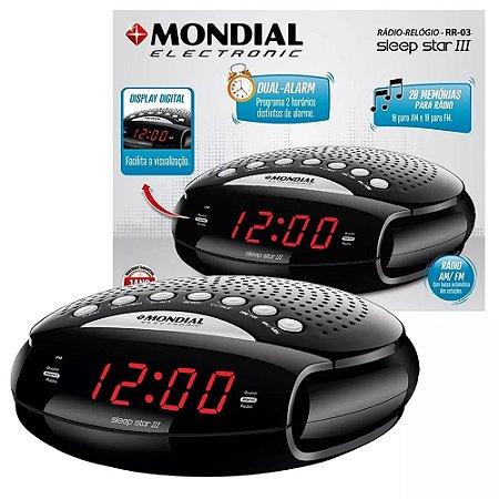 Rádio Relógio Am/fm Mondial Tela Digital Alarme Despertador