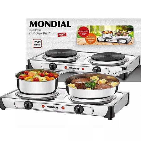 Fogão Elétrico Portátil Mondial Duplo Inox Fast Cook 1000w