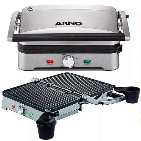 Super Grill Arno Premium Inox Com Placas Destacáveis 1200w
